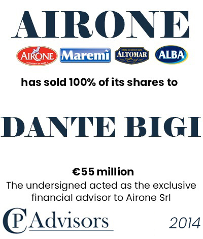 CP Advisors advised Airone on the sale of its business to Dante Bigi for Eur. 55 million in cash