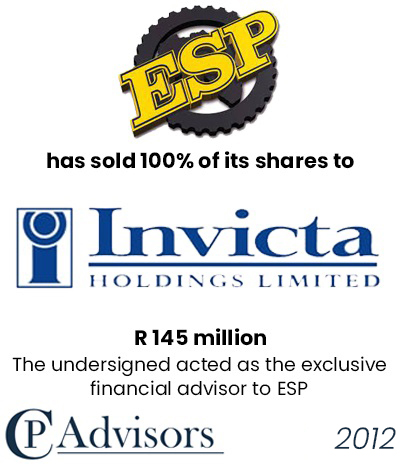 CP Advisors advised Equipment Spare Parts Africa on the sale of its business to Invicta Holding Limited for R. 145 million in cash
