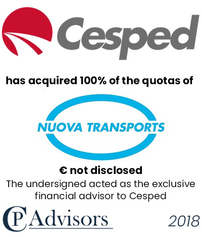 CP Advisors advised Cesped Group on the acquisition of Nuova Transports S.p.A.