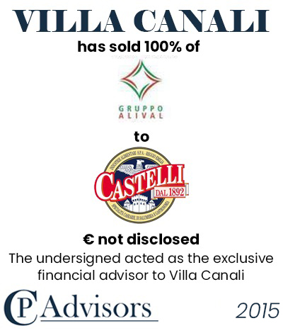 CP Advisors advised Villa Canali on the sale of Gruppo Alival to Nuova Castelli Group